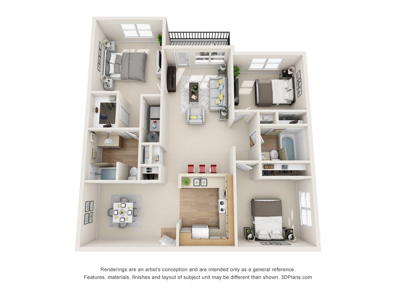 Maple / White Oak (3BR, 2BA) Floor Plan 4